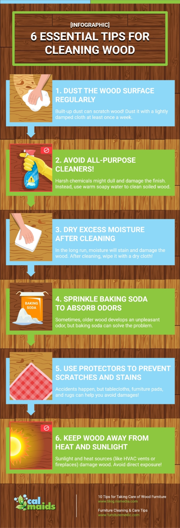 CalMaids - [Infographic] 6 Essential Tips For Cleaning Wood